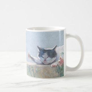 Cat with Geranium Coffee Mug