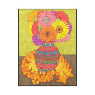 Cat with Gerbera Daisies in Talavera Vase Canvas Print
