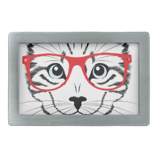 cat with glasses rectangular belt buckles
