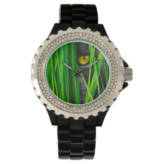 Cat with Green Leaf and Special Eyes Wristwatches