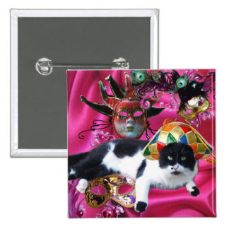 CAT WITH HARLEQUIN HAT AND MASQUERADE PARTY MASKS 15 CM SQUARE BADGE