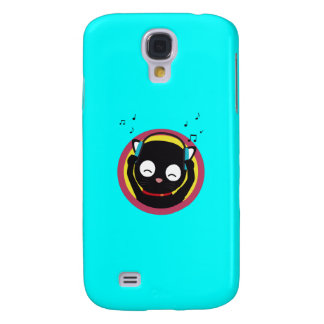 Cat with headphones hears music Q1Q Galaxy S4 Covers