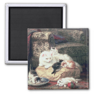 Cat with her Kittens on a Cushion Square Magnet