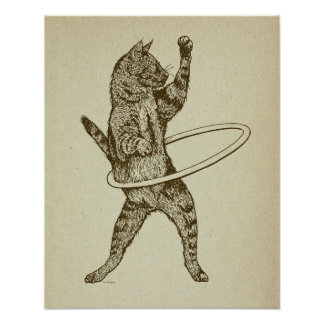 Cat with Hula Hoop Poster
