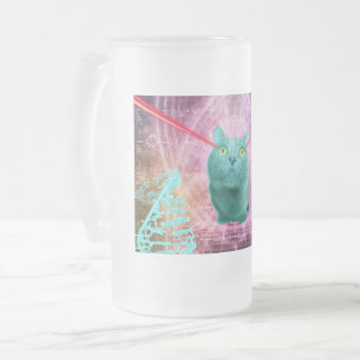 Cat with laser eyes frosted glass beer mug