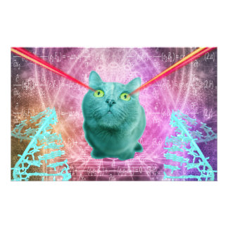 Cat with laser eyes stationery