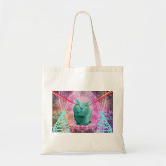 Cat with laser eyes tote bag