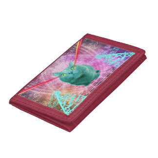 Cat with laser eyes tri-fold wallet
