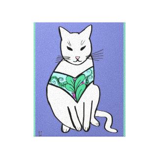 Cat with Leaf Design Canvas Prints