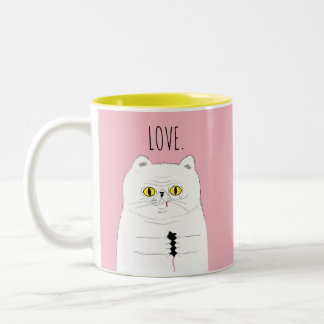 Cat With Mouse Blush Pink LOVE Mug