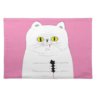 Cat With Mouse Funny Drawing Placemat
