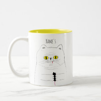 Cat With Mouse Funny Drawing Two-Tone Coffee Mug