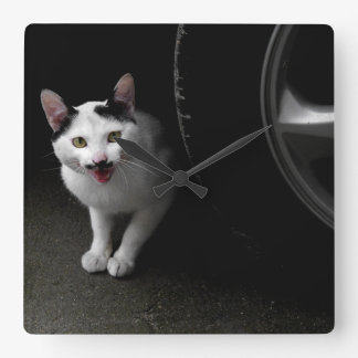 Cat with Mustache Square Wall Clock