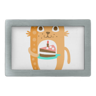 Cat With Party Attributes Girly Stylized Funky Sti Rectangular Belt Buckle