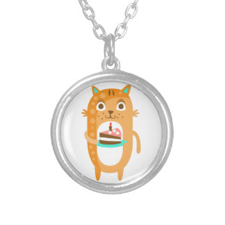 Cat With Party Attributes Girly Stylized Funky Sti Silver Plated Necklace
