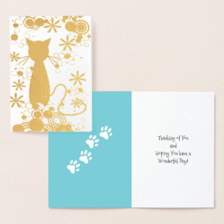 Cat with Paw Prints Foil Card