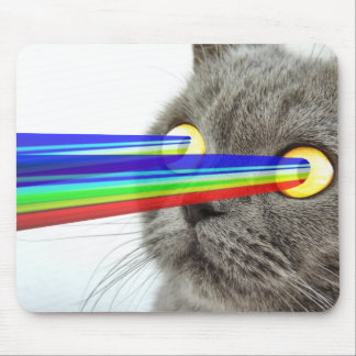 Cat With Rainbow Laser Eyes High Quality Mouse Pad