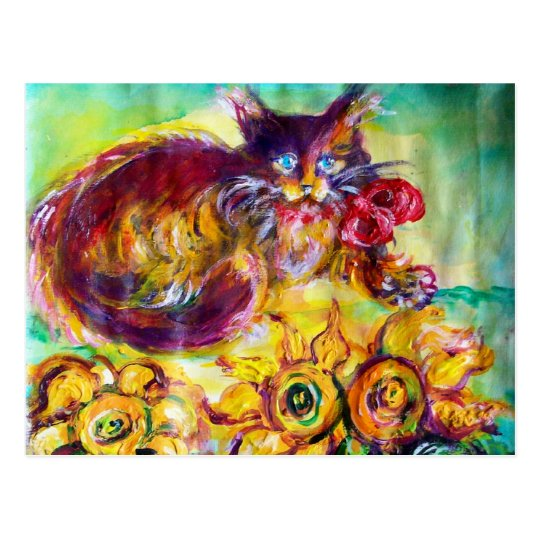 CAT WITH RED RIBBON AND SUNFLOWERS POSTCARD