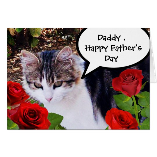 CAT WITH RED ROSES,FATHER'S DAY CARD