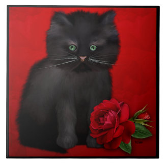 Cat with save Rose Large Square Tile