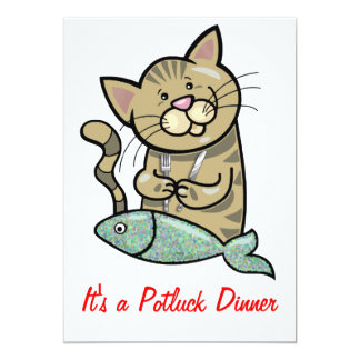 Cat with Seafood Dinner Potluck 13 Cm X 18 Cm Invitation Card