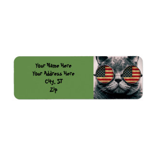 Cat with sunglasses - american flag return address label