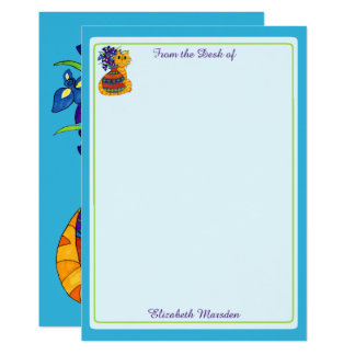 Cat with Vase of Irises Personalized Stationery Card