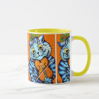 Cat With Violin by Louis Wain Cup