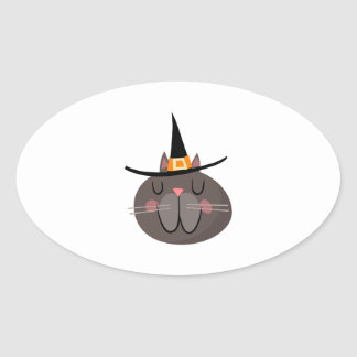CAT WITH WITCH HAT OVAL STICKERS