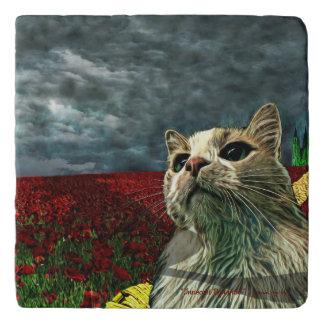 "Cat ""Wizard of Oz"" Baum Humor Marble Stone Trivet"