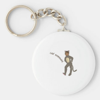 Cat Woman Basic Round Button Key Ring