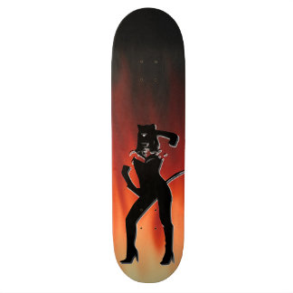 Cat woman on a Fire flames background Skateboard Deck