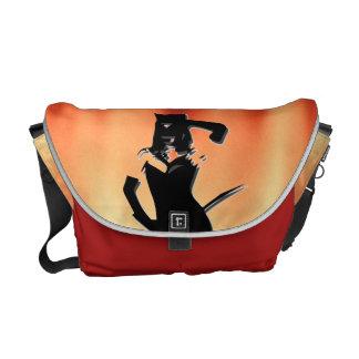 Cat woman silhouette messenger bag