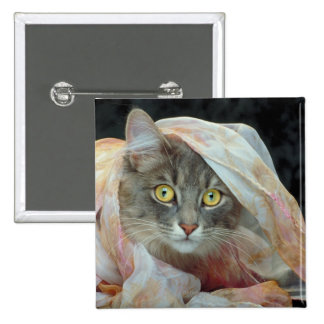 Cat wrapped in cloth 15 cm square badge