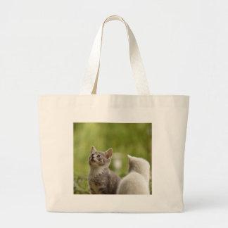 Cat Young Animal Curious Wildcat Animal Nature Large Tote Bag