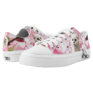 Cat Zipz Low Top Sneakers, Printed Shoes