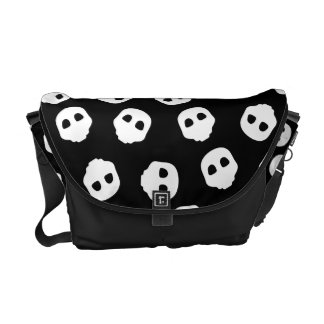 Catacomb White Skulls on Black Nu Goth Gothic Courier Bag