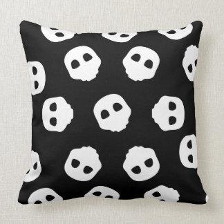 Catacomb White Skulls on Black Nu Goth Gothic Cushion