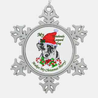 Catahoula Leopard Dog Christmas Pewter Snowflake Decoration