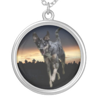 Catahoula Leopard Dog Running on Sunset Round Pendant Necklace