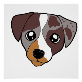 catahoula red 2 sided cartoon head poster
