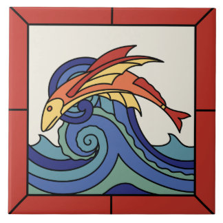 Catalina Island Flying Fish Tile with Border