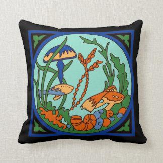 Catalina Island Tile Vintage 1920s Undersea Garden Throw Pillow