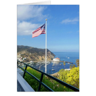Catalina View from Inn at Mt. Ada with flag 2 Card