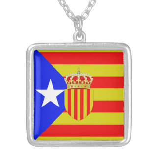 Catalonia flag silver plated necklace
