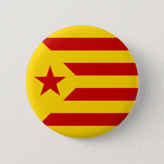 Catalonia Red Starred Flag 6 Cm Round Badge