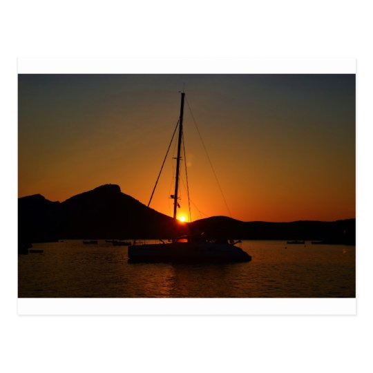 Catamaran at sunset Ibiza.JPG Postcard
