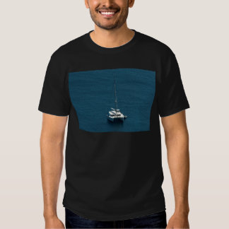Catamaran moored offshore shirts