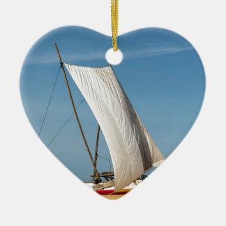 Catamaran, Negombo Beach, Sri Lanka Ceramic Heart Decoration