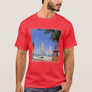 Catamarans And Lifeguard Stand On Beach T-Shirt